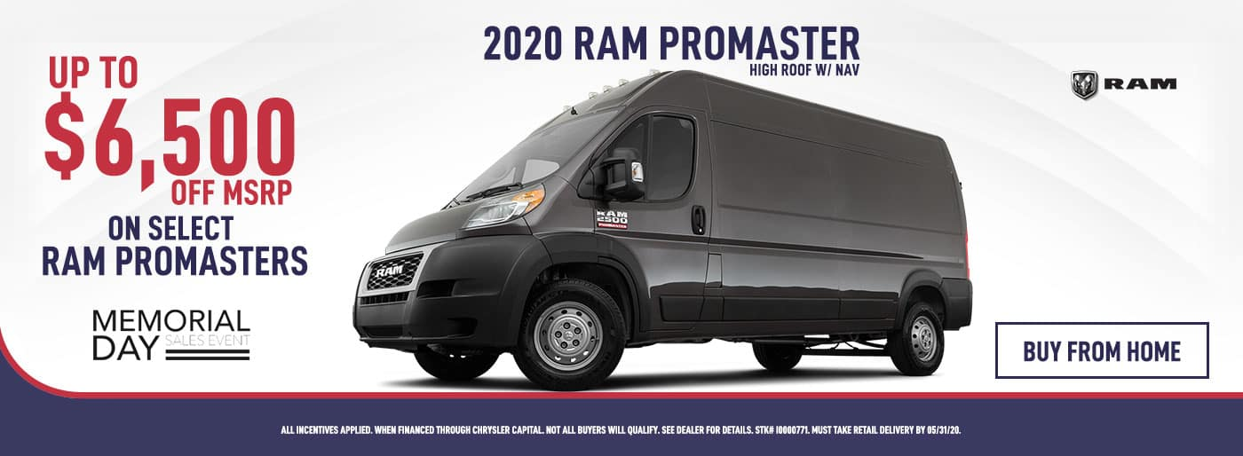 2020 RAM Promaster Up To $6,500 OFF MSRP