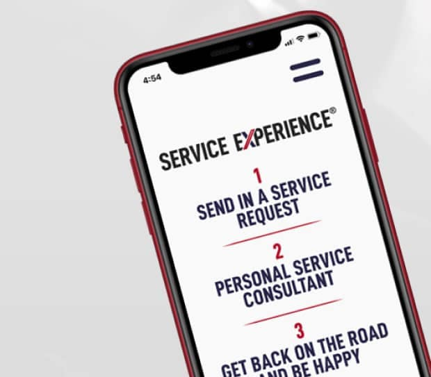 Phone screen with service process on it