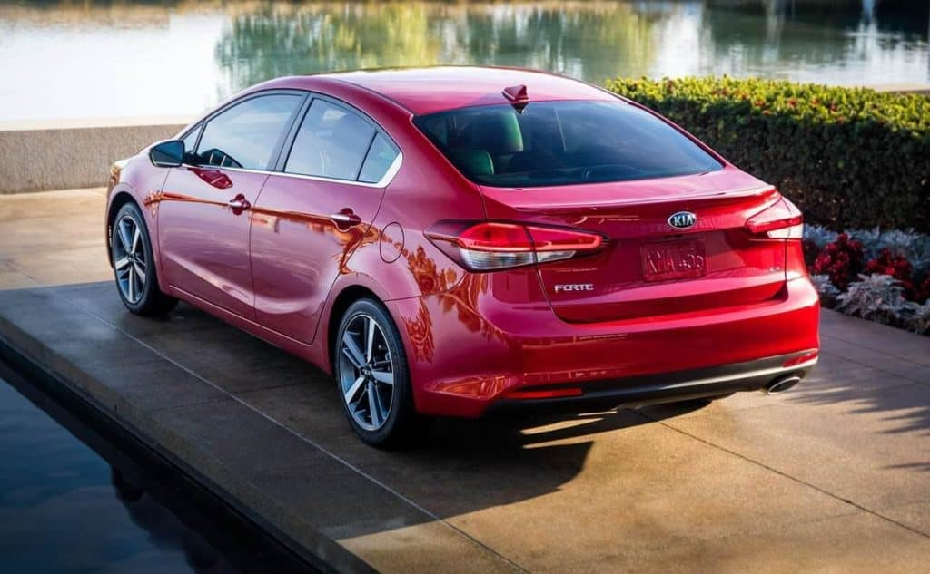 2018 Kia Forte rear view in red