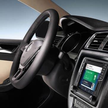 2018 Volkswagen Jetta steering wheel and infotainment system