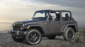 A gray Jeep Wrangler