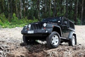 Black Jeep Wrangler on rough terrains
