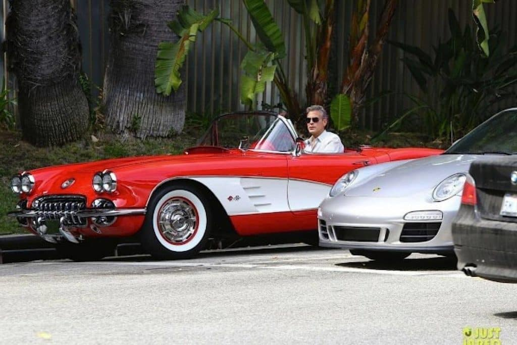 George Clooney driving an iconic 1959 Corvette