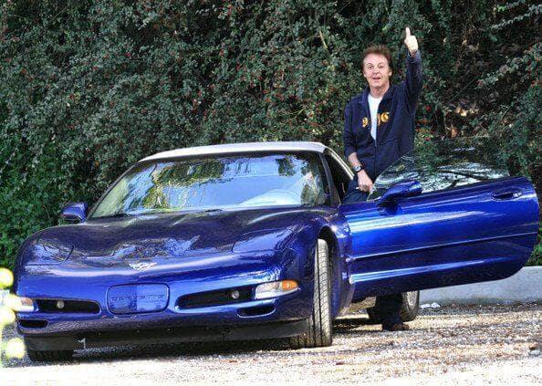Paul McCartney and his blue Corvette C5