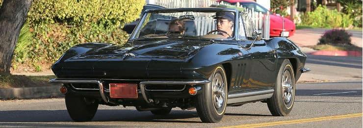 Robert Downey Jr. in his Corvette