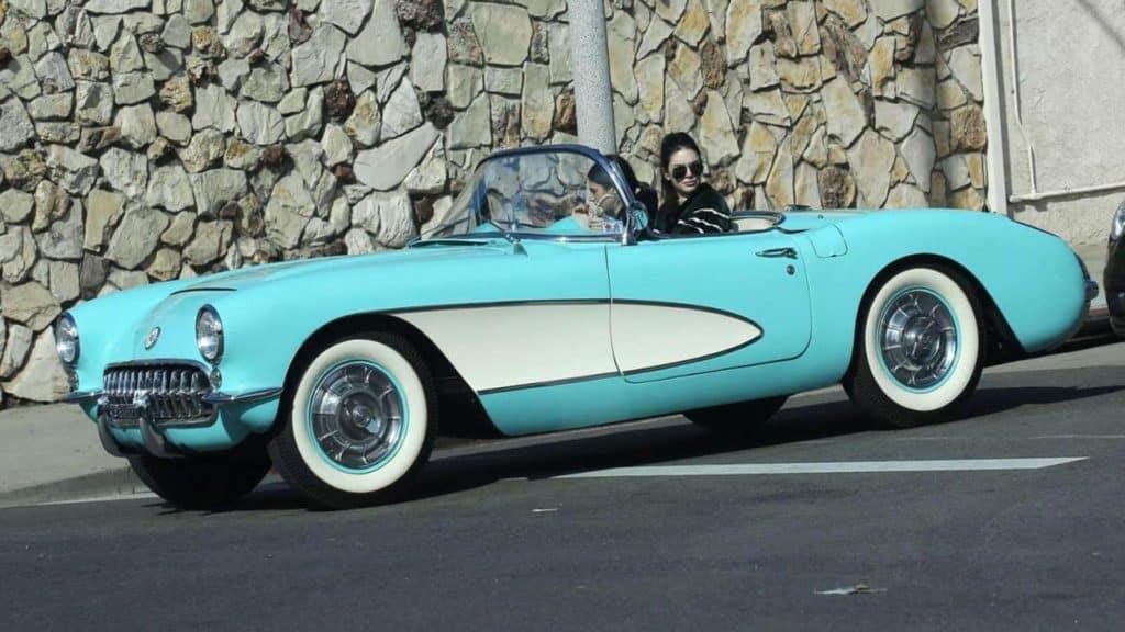 kendall Jenner in her vintage Corvette Stingray