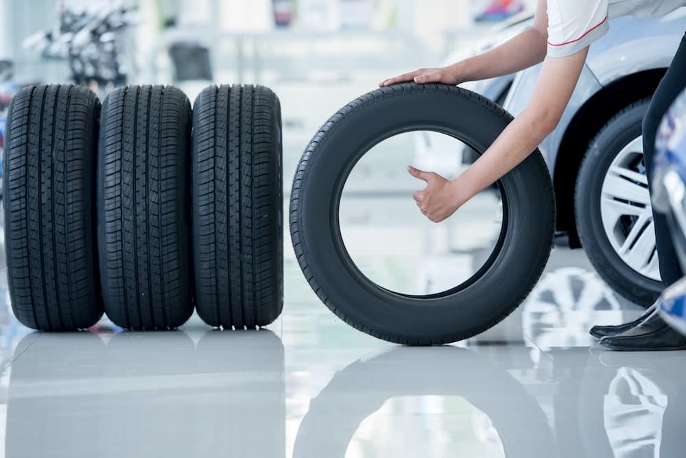 A set of tires lined up at the Dan Cummins tire center in Paris, KY
