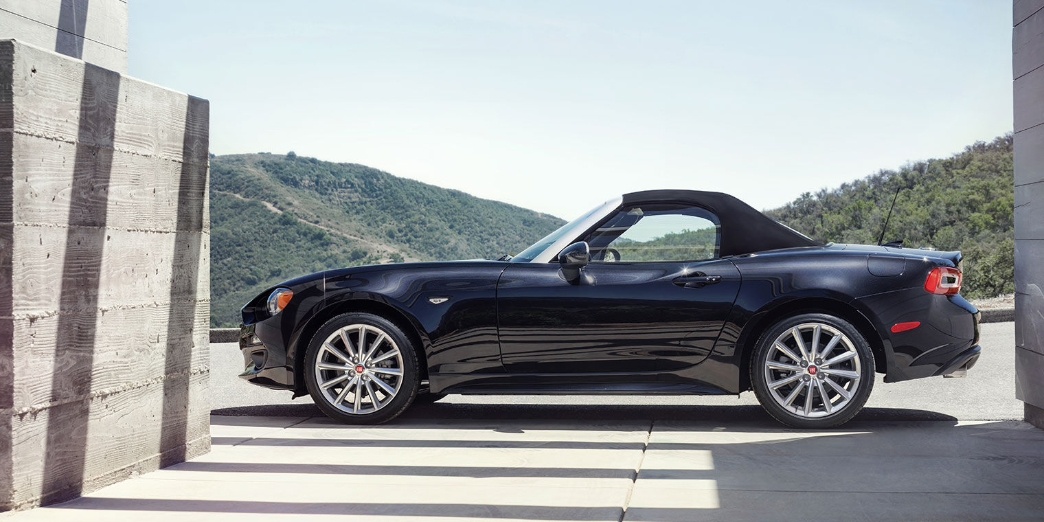 Side View of Black FIAT Spider Convertible