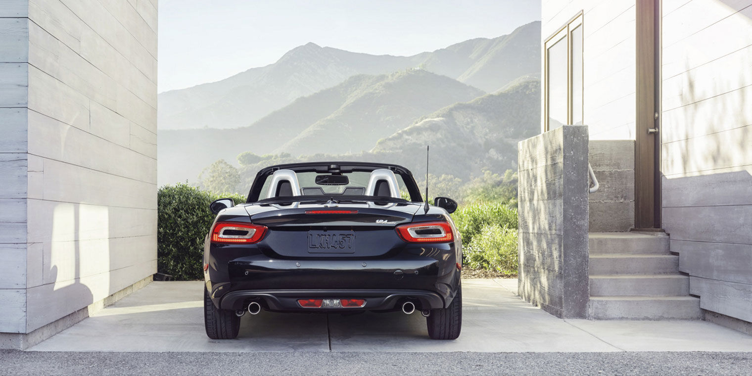 Back Side View of Black FIAT Spider