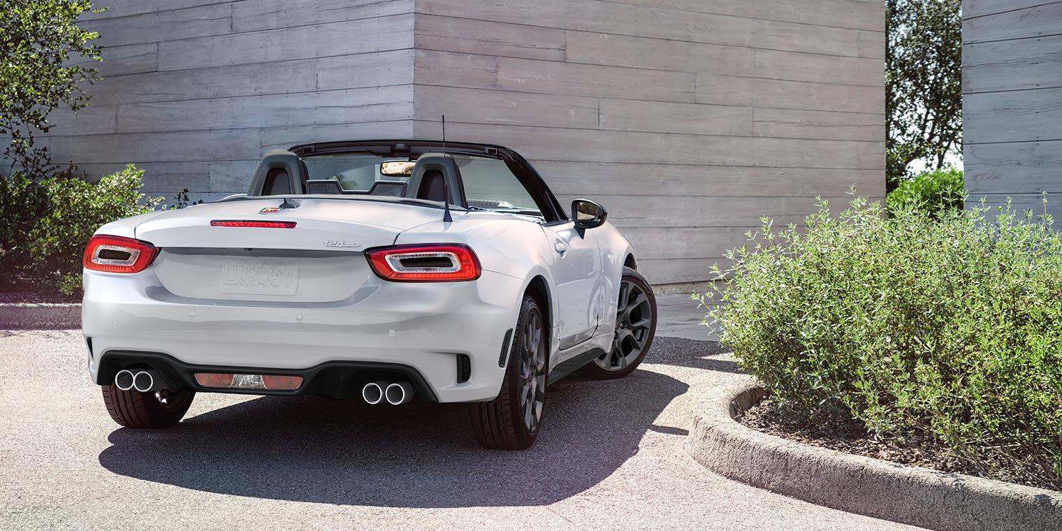 Backside of White FIAT Spider