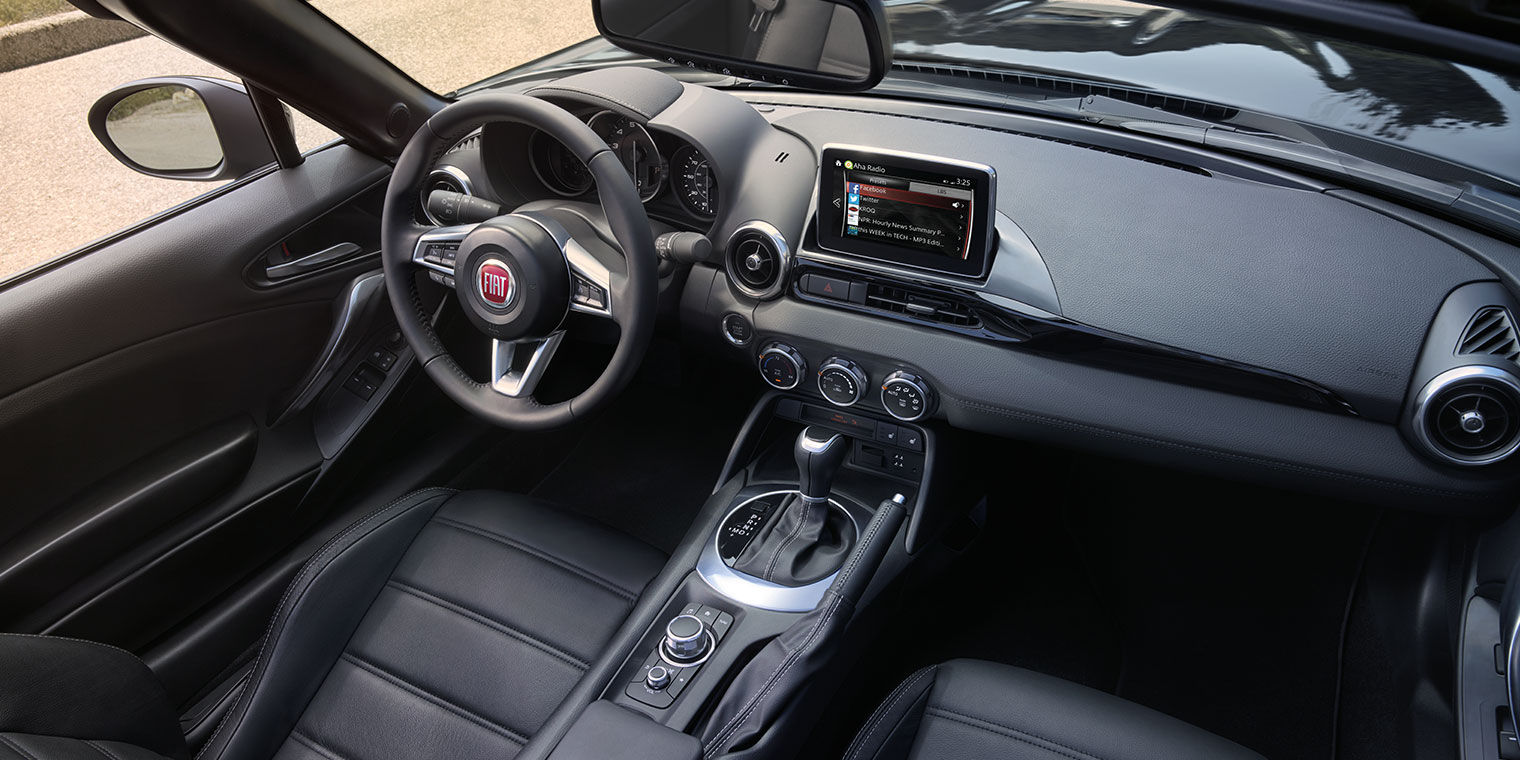 Front View of FIAT Spider Dark Interior