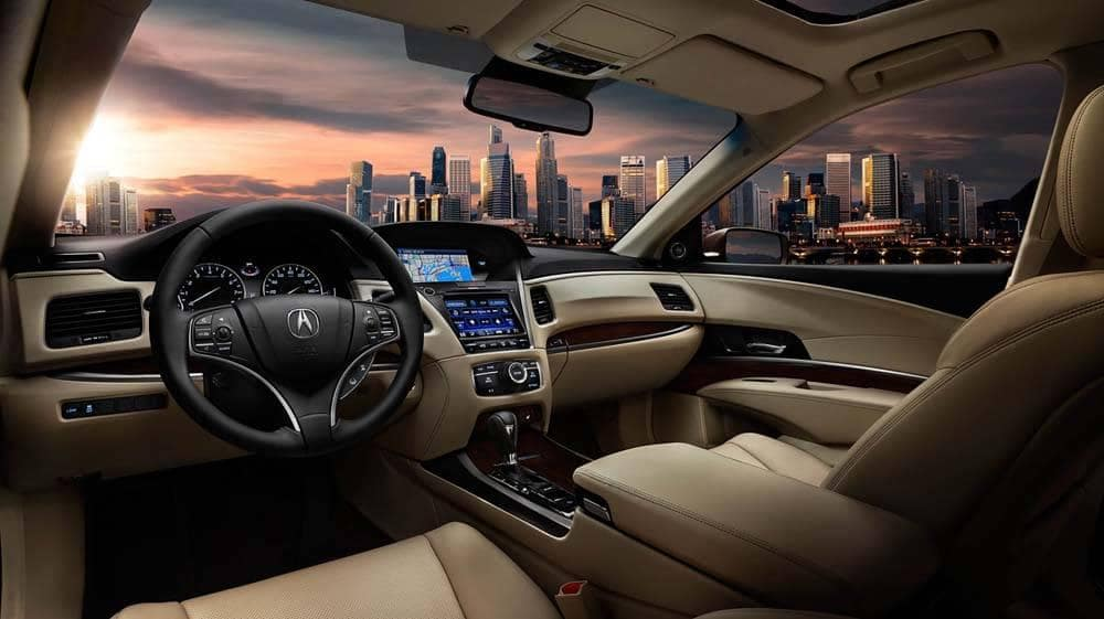 2018 Acura RLX Interior dash with skyline in the background