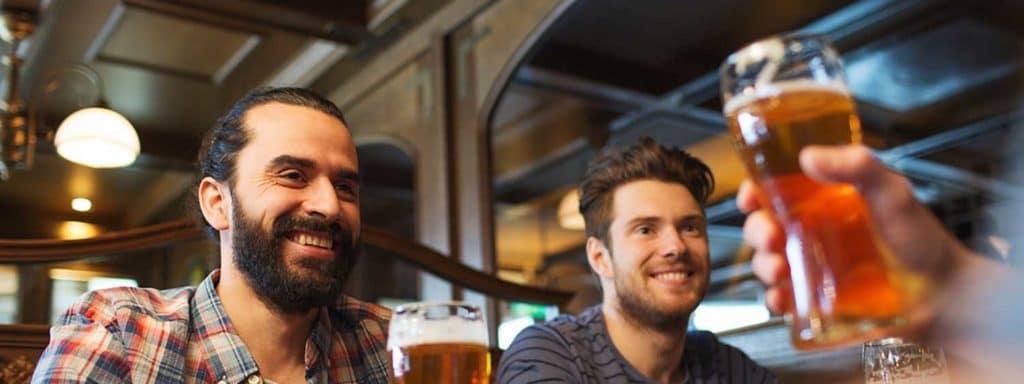 men in a brew pub
