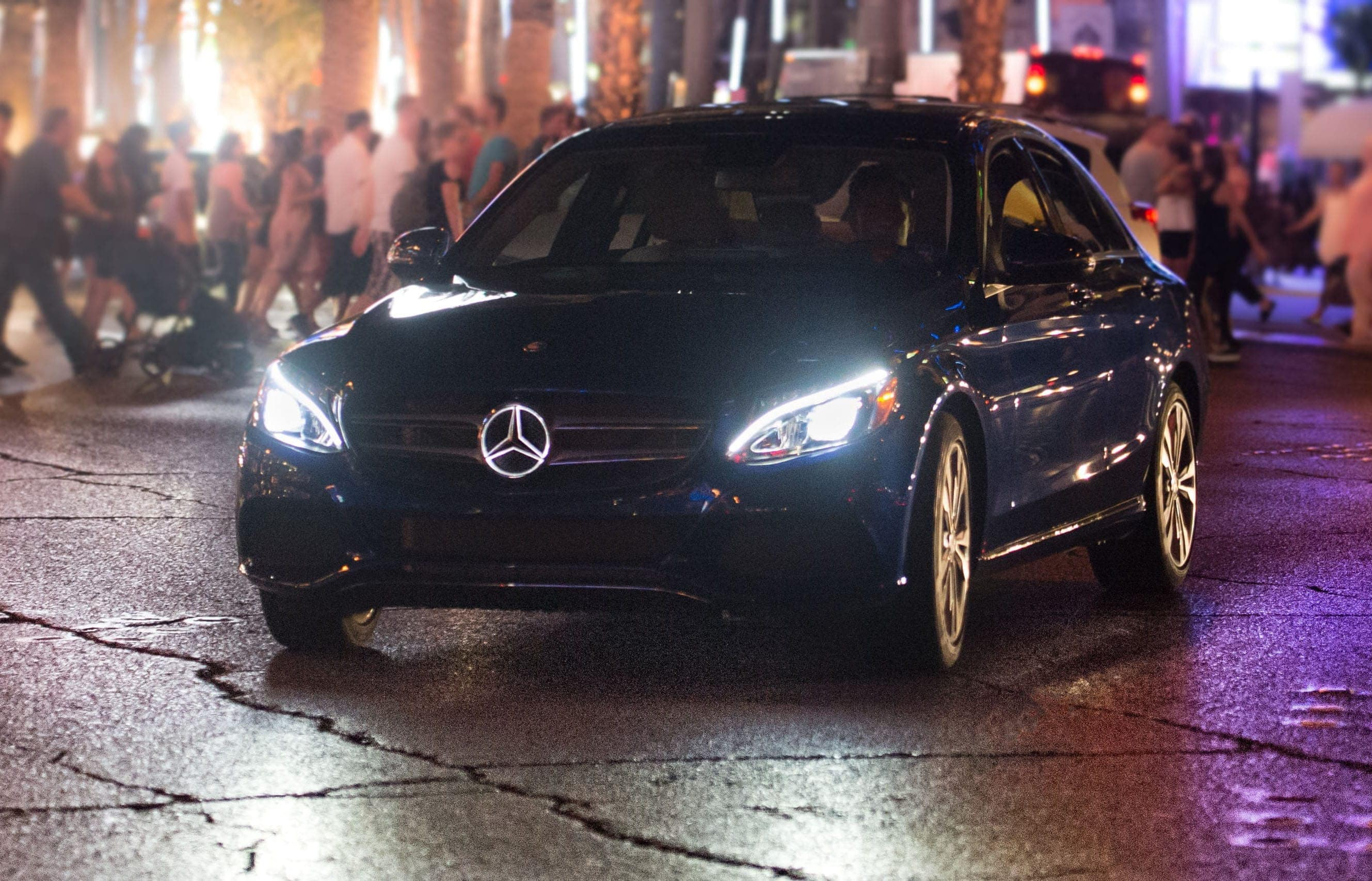 Mercedes-Benz headlights at night