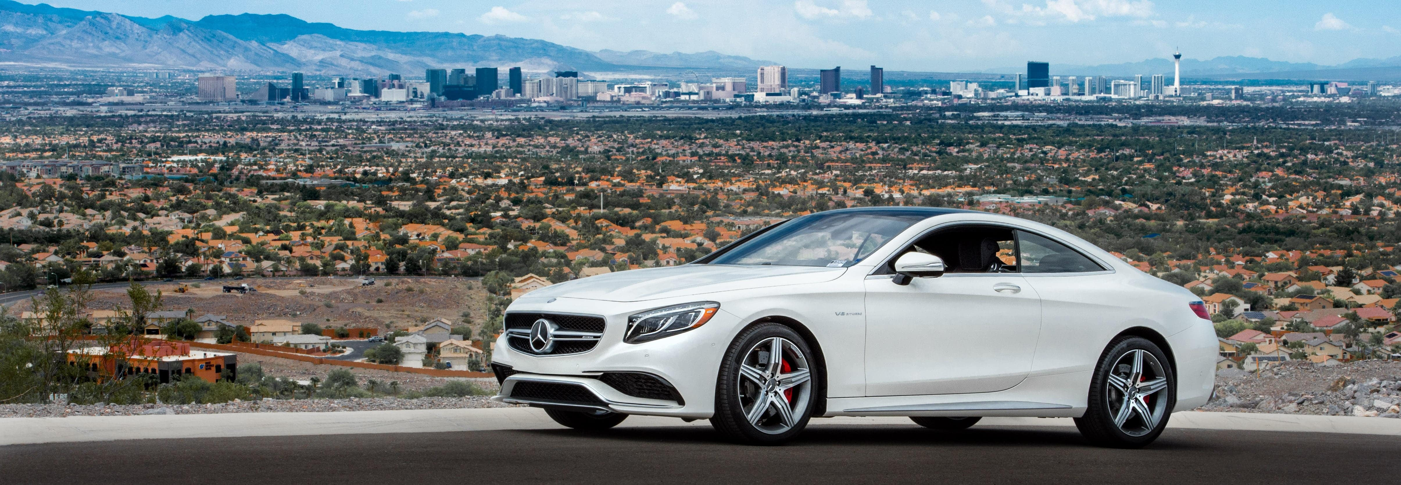Mercedes-Benz Coupe in front of Las Vegas Skyline
