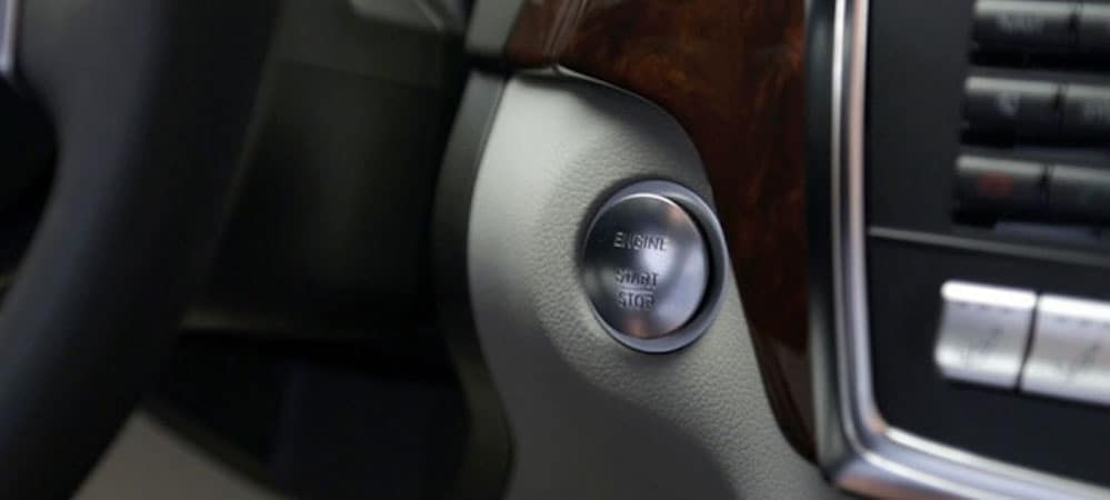 Close-up of Push Start ignition inside Mercedes-Benz vehicle