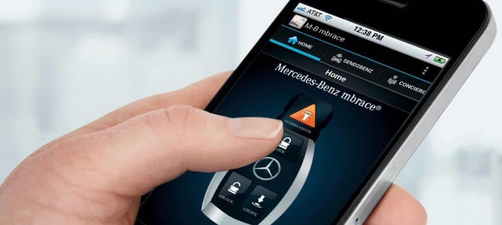 Mercedes-Benz mbrace app on phone screen