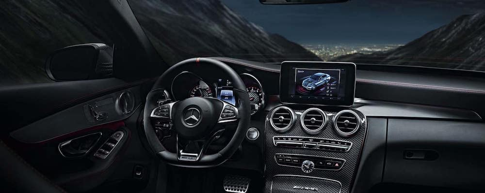 Interior view of dashboard and wheel inside Mercedes-AMG model