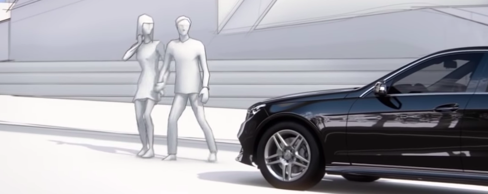 Computerized dramatization of how the Mercedes-Benz PRESAFE system works with pedestrians present