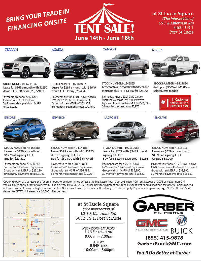 Garber Buick GMC Tent Sale Now Through June 18th