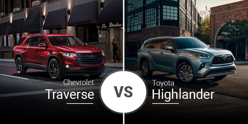 model comparison all Traverse vs Highlander