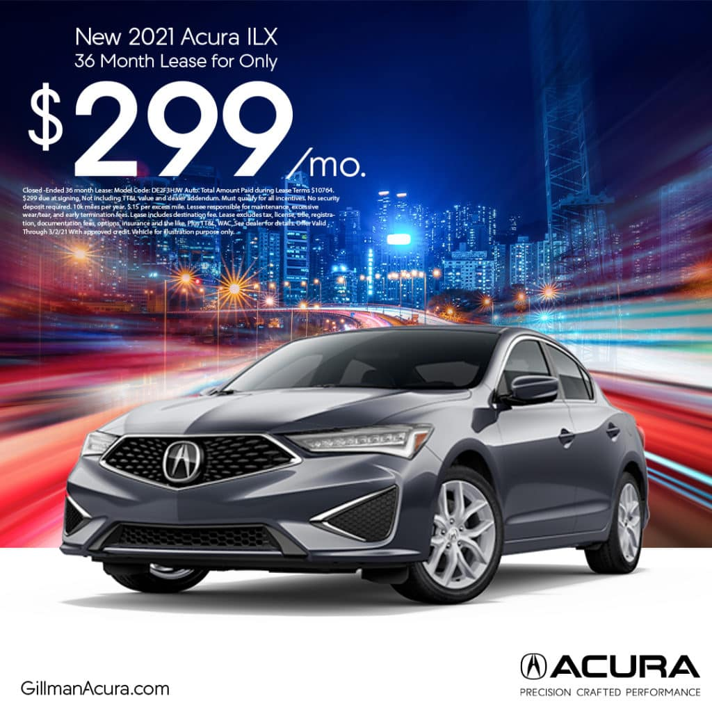 Lease the 2021 ILX for $299/Month
