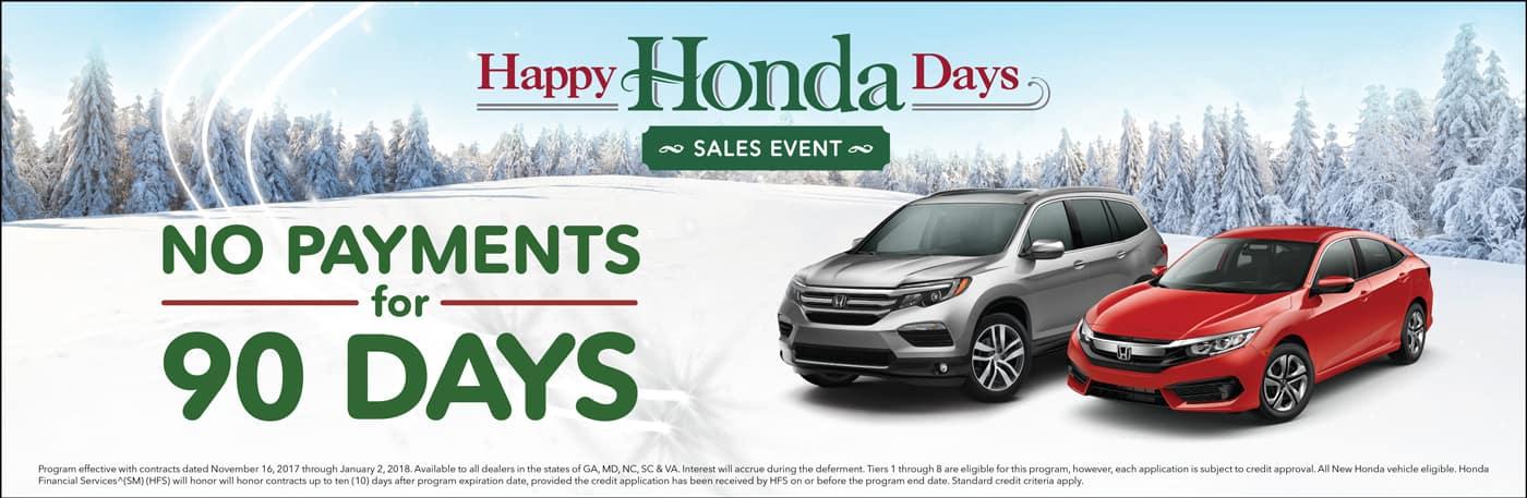 Hampton Roads Honda Dealers Happy Honda Days 90-Day Deferment