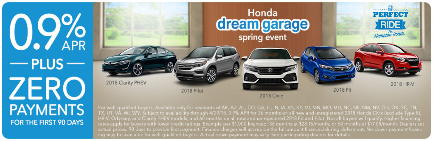 Hampton Roads Honda Dream Garage APR Financing Special