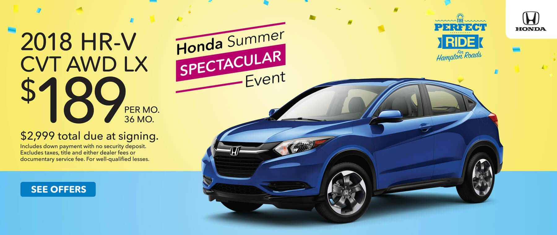 Honda Summer Spectacular Event 2018 HR-V Lease Offer