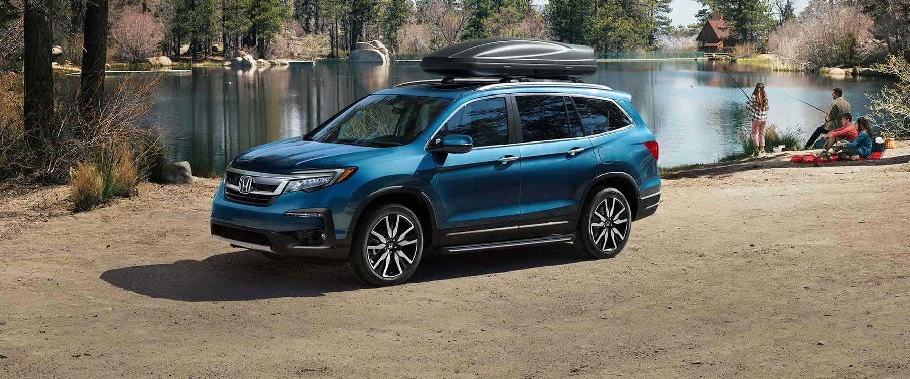 2019 Honda Pilot Parked at Lake with Family Fishing