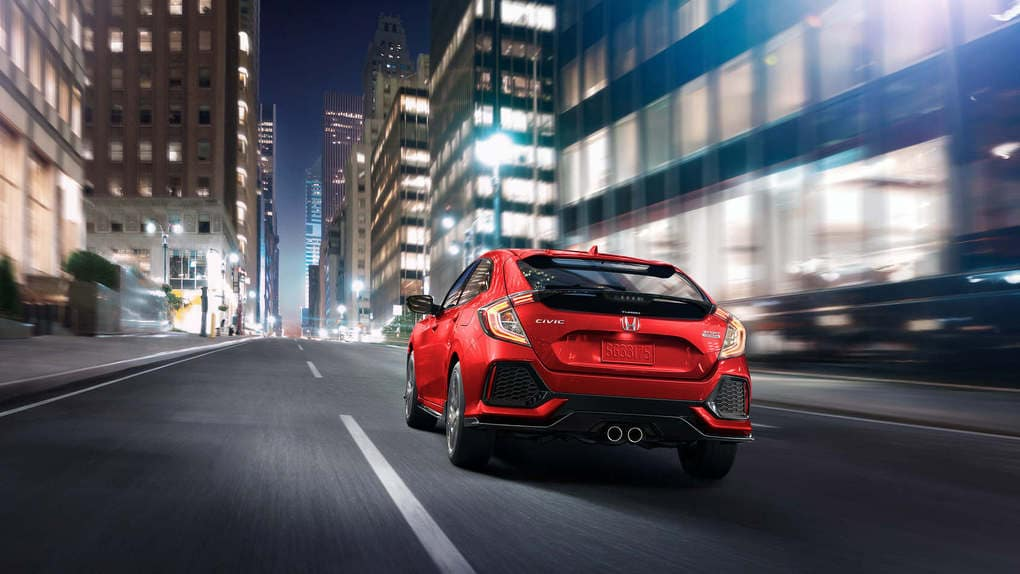 2019 Honda Civic Hatchback Red Back View