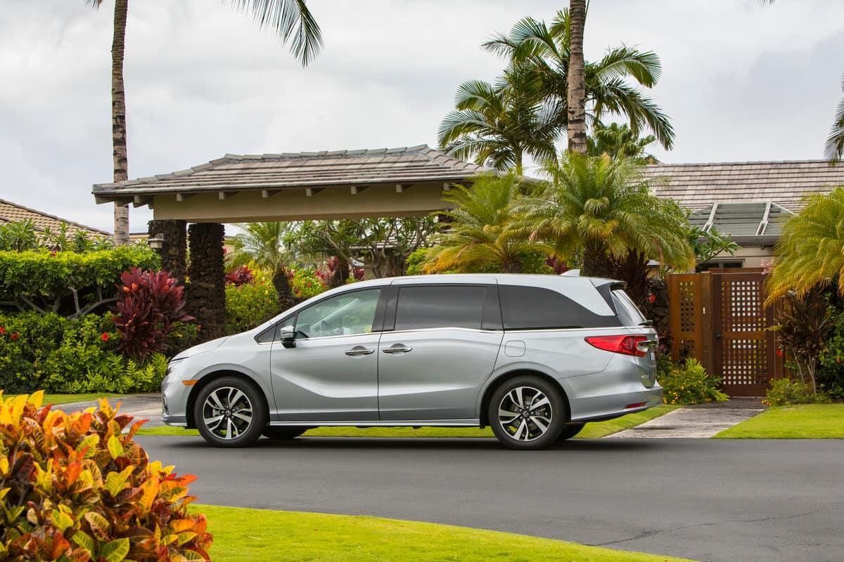Silver 2020 Honda Odyssey parked near tropical trees