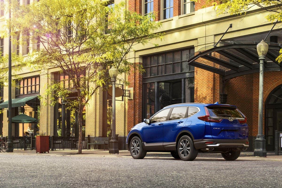 Blue 2020 Honda CR-V Touring parked downtown