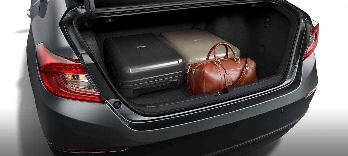 Open trunk of 2020 Honda Accord with cargo loaded inside