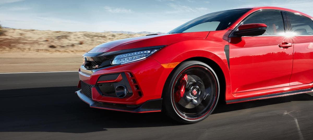Red 2020 Honda Civic Type R in desert
