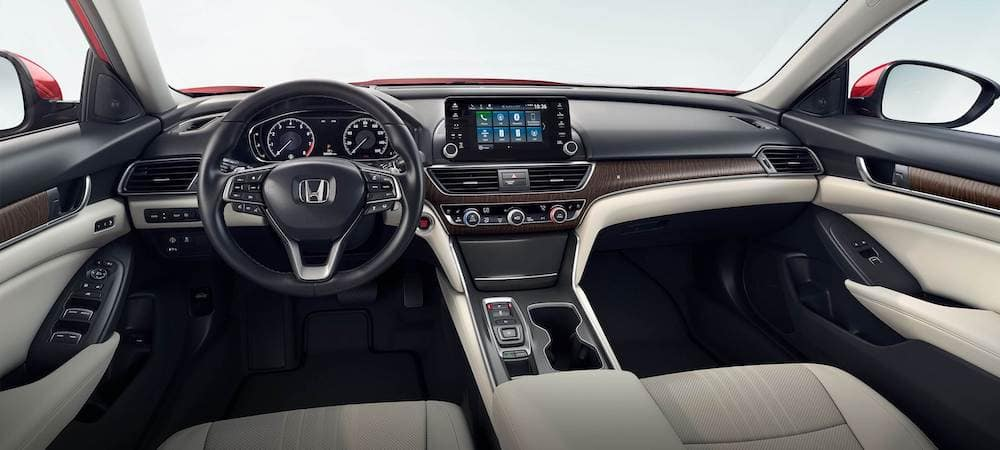 Front seats of 2020 Honda Accord sedan without passengers