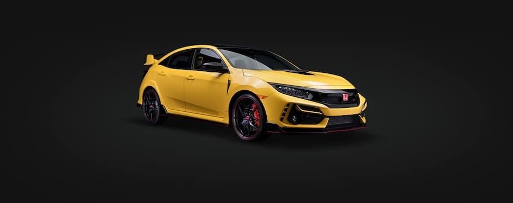 Yellow 2021 Honda Civic Type R against black background