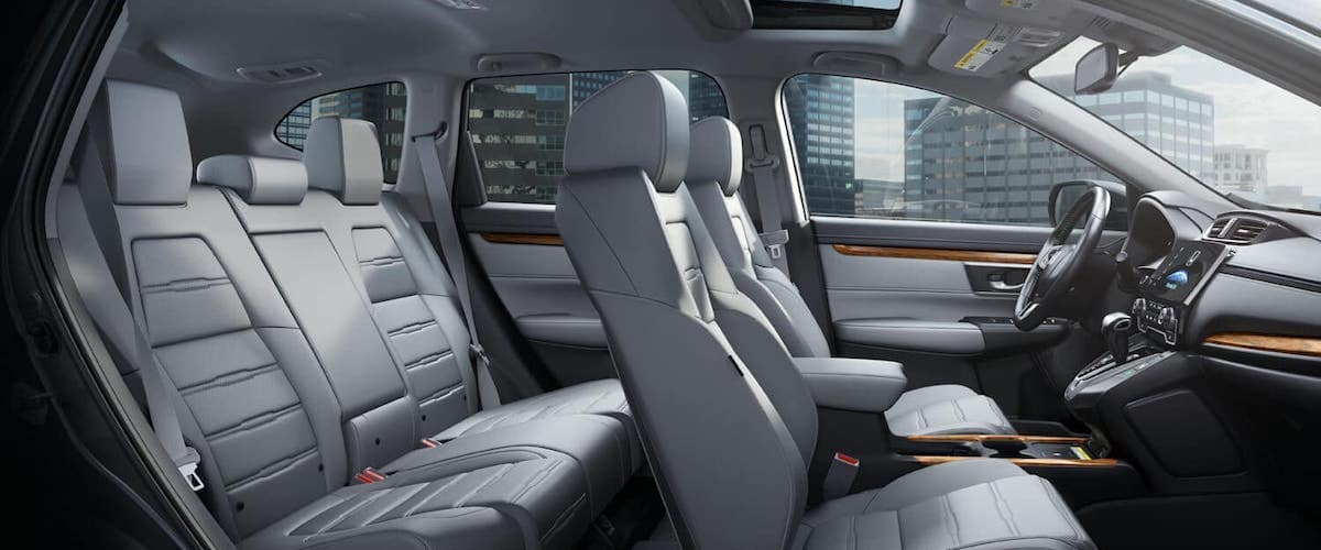 Side view of 2020 Honda CR-V interior gray seats without passengers