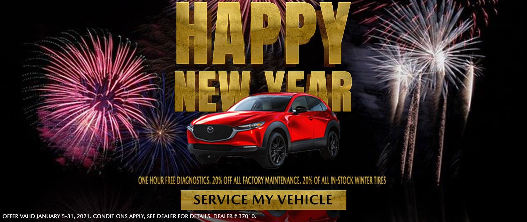 1 hour free diagnostics – 20% off factory maintenace – 20% off winter tires – Harris Mazda Banner