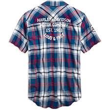 Harley Men's 96752-19VM Plaid Red Blue Shirt
