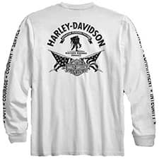 Harley Wounded Warrior Project Long Sleeve White Tee Shirt