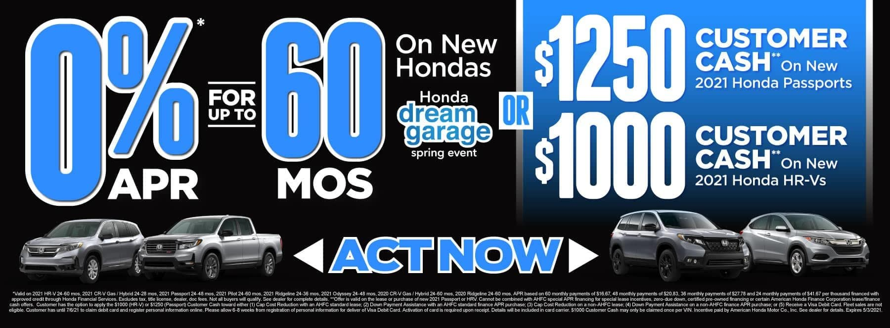 0% APR for up to 60 months on new Hondas | Act Now
