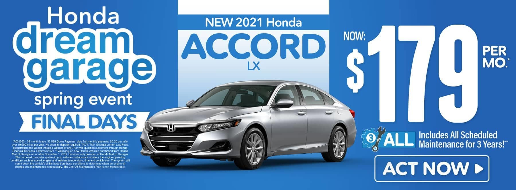 New 2021 Honda Accord | Now $179 per month | Act Now