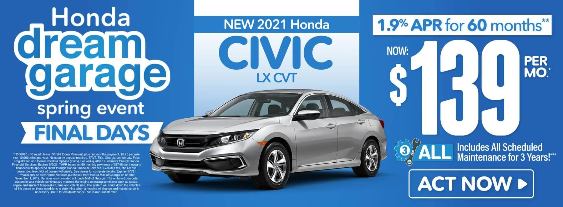New 2021 Honda Civic | Now $139 per month | Act Now