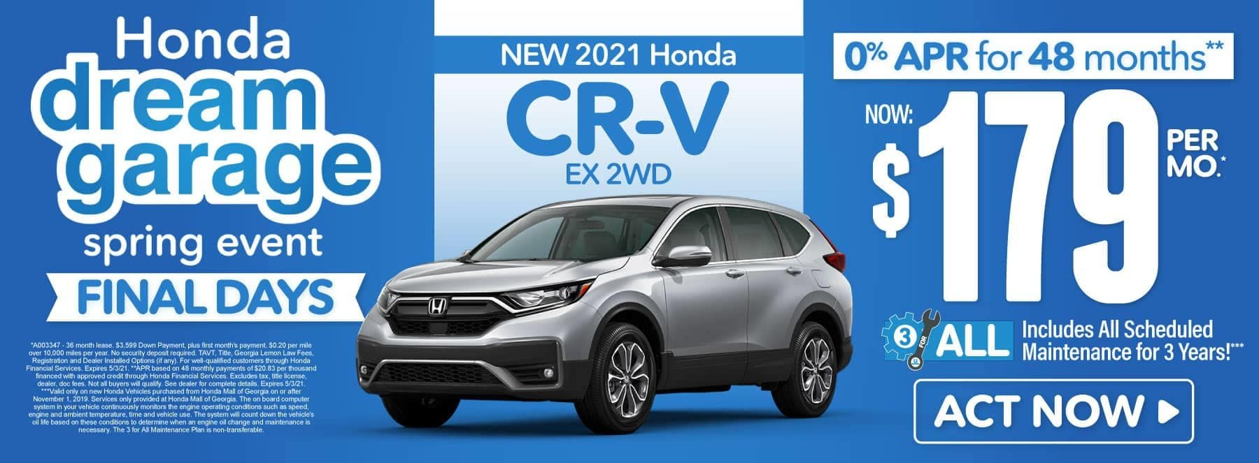 New 2021 Honda CR-V | Now $179 per month | Act Now