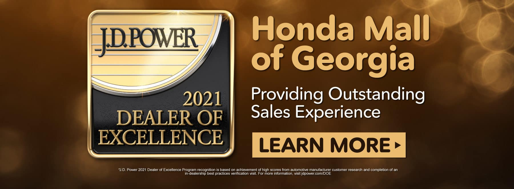 Honda Mall of Georgia is a 2021 Dealer of Excellence | Click to Learn More