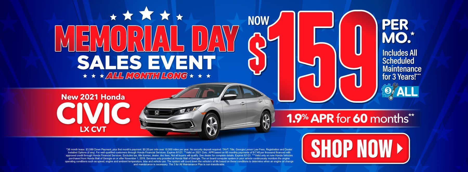 New 2021 Honda Civic | Now $159 per month | Act Now