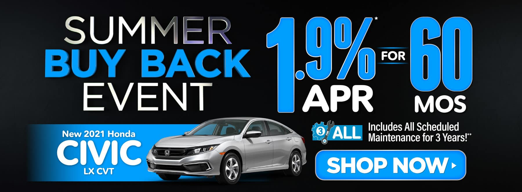 New 2021 Honda Civic - 1.9% APR for 60 months - Shop Now