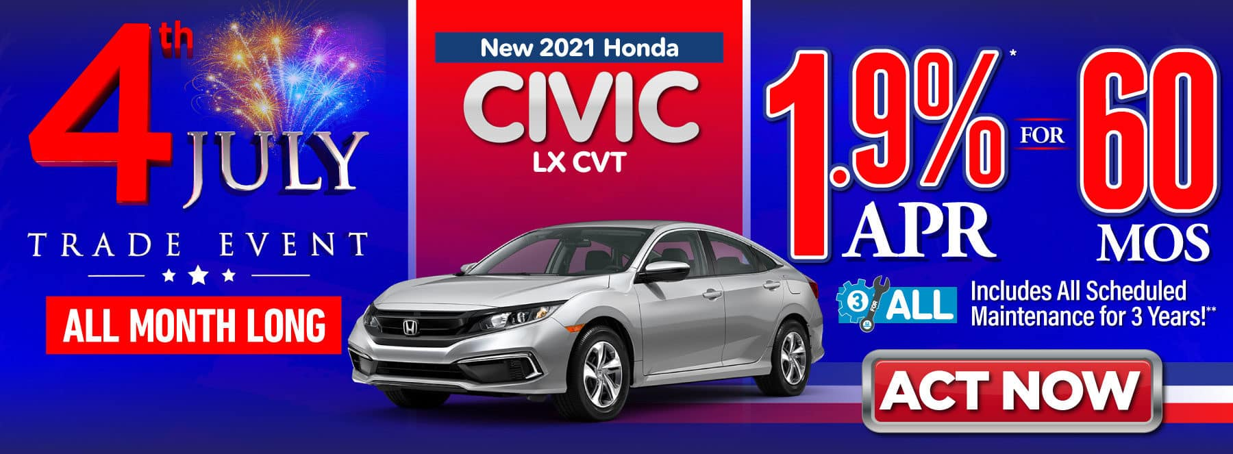New 2021 Honda Civic LX CVT - 1.9% APR for 60 Months - ACT NOW