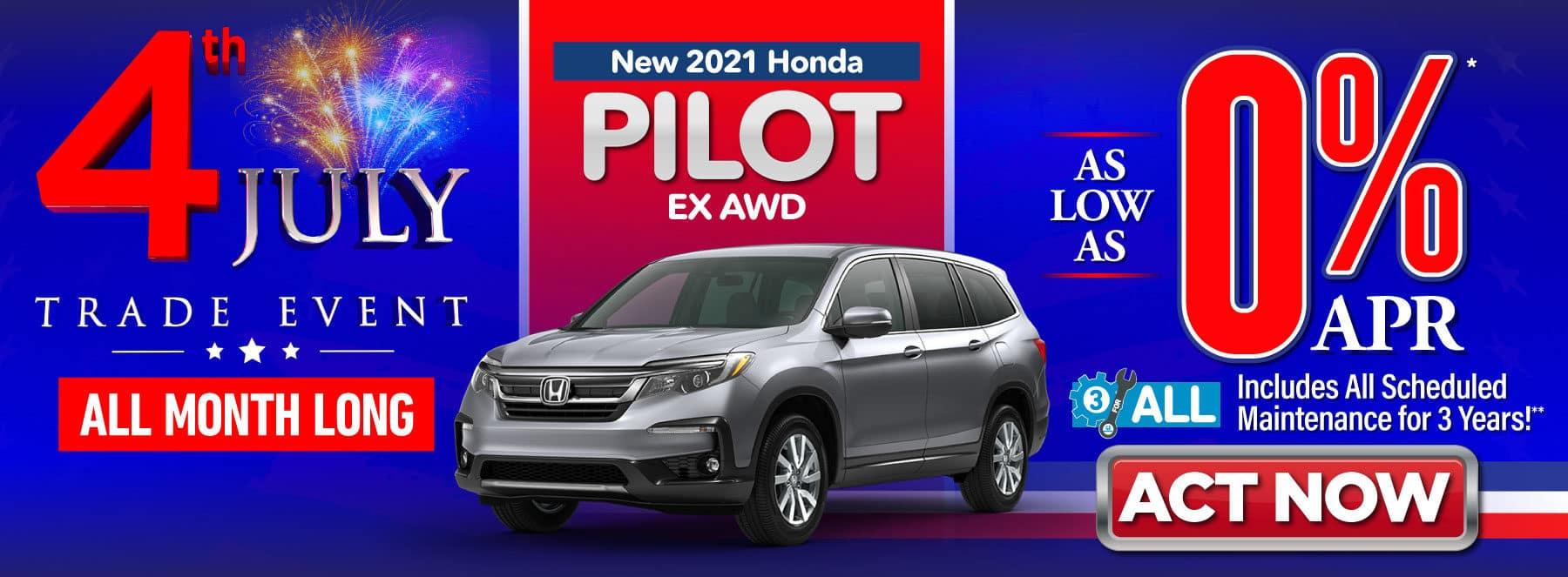 New 2021 Honda Pilot EX AWD - As Low As 0% APR - ACT NOW